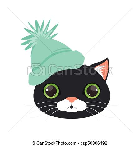 450x470 Cute Black Cat Head In Turquoise Knitted Hat, Funny Cartoon Eps