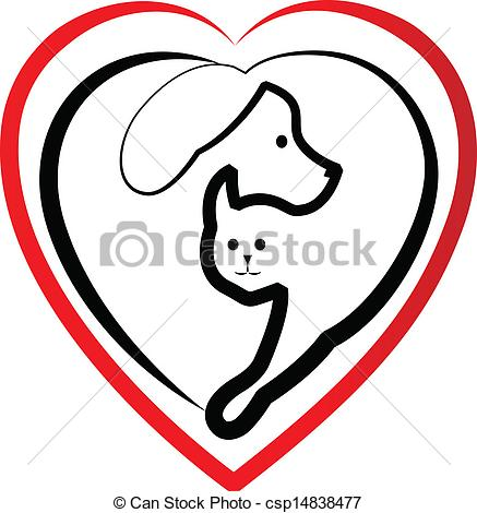 437x470 Dog And Cat Heads Silhouettes Logo. Dog And Cat Heads Vectors