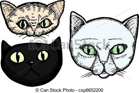 450x303 Three Cat Heads. Three Hand Drawn Cat Head Portrait Vector