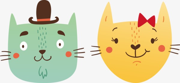 600x277 Two Cats Head, Cat, Lovers, Head Portrait Png Image And Clipart