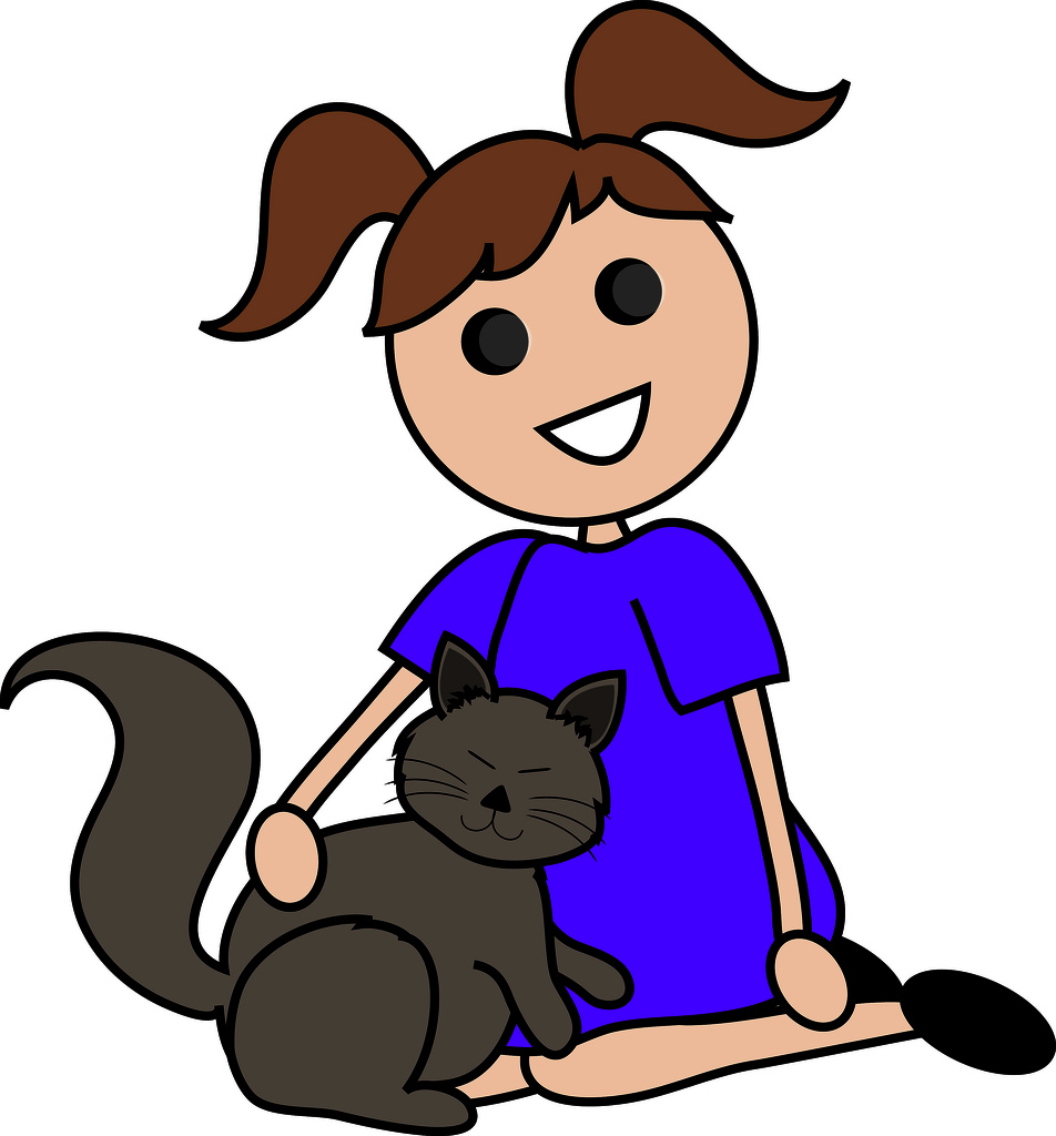 952x1024 Clip Art Illustration Of A Cartoon Girl Sitting With Her Cat