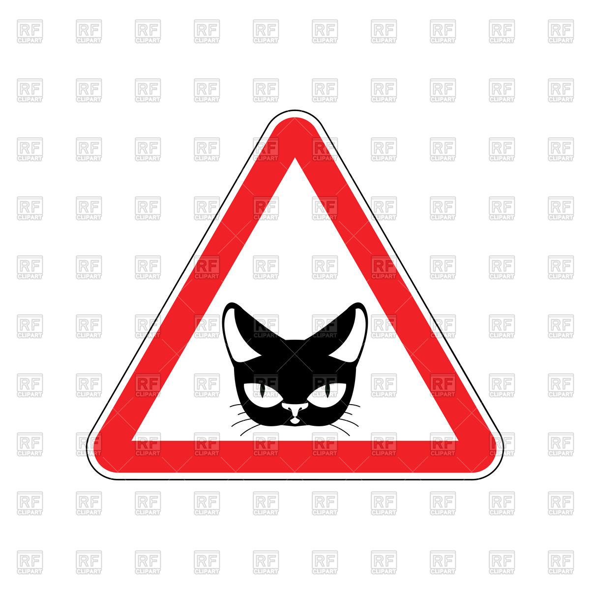 1200x1200 Danger Cat Red Sign Royalty Free Vector Clip Art Image