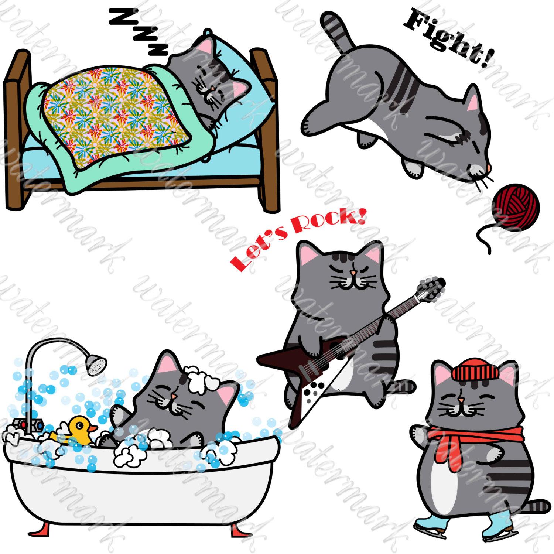 1500x1500 Kawaii Cats Clipart Cats Digital Hand Drawn Cats Clip Art Cat Clip
