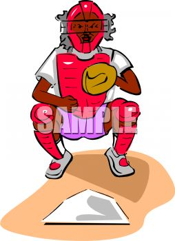 254x350 Royalty Free Clipart Image Baseball Catcher Behind Home Plate
