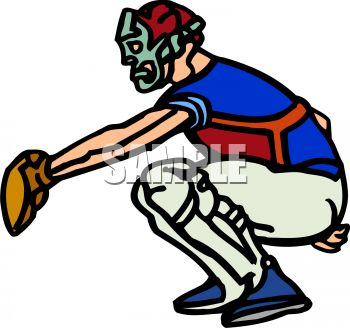 350x328 Royalty Free Clipart Image Cartoon Of A Catcher