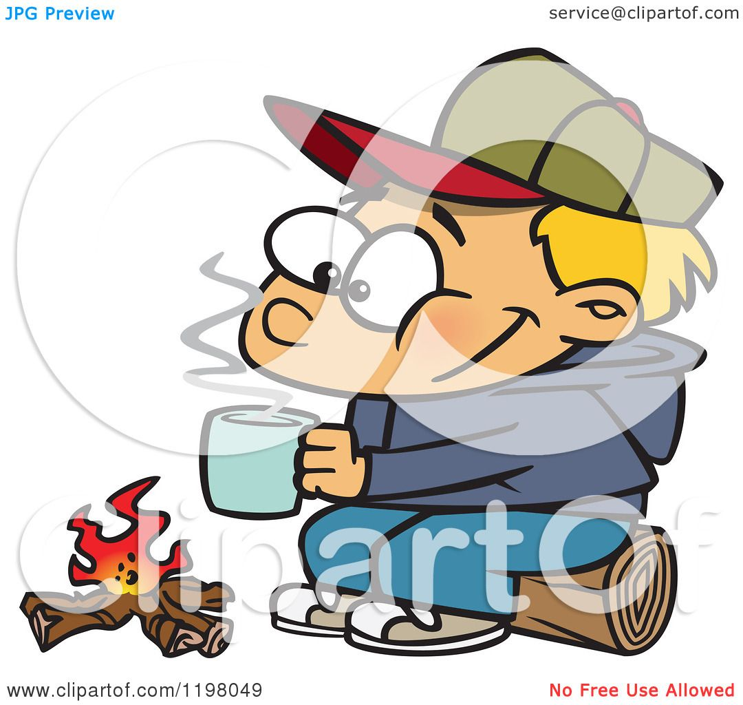 1080x1024 Cartoon Of A Happy Blond Boy With Hot Cocoa By A Camp Fire