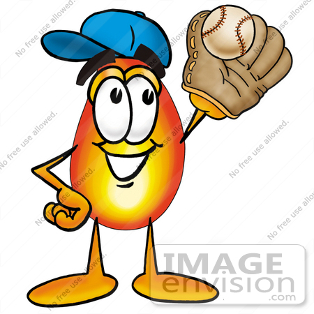 450x450 Clip Art Graphic Of A Fire Cartoon Character Catching A Baseball