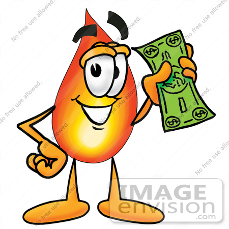 450x450 Clip Art Graphic Of A Fire Cartoon Character Holding A Dollar Bill