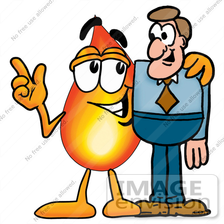 450x450 Clip Art Graphic Of A Fire Cartoon Character Talking To A Business