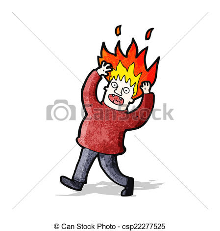 449x470 Retro Cartoon Man On Fire Vector