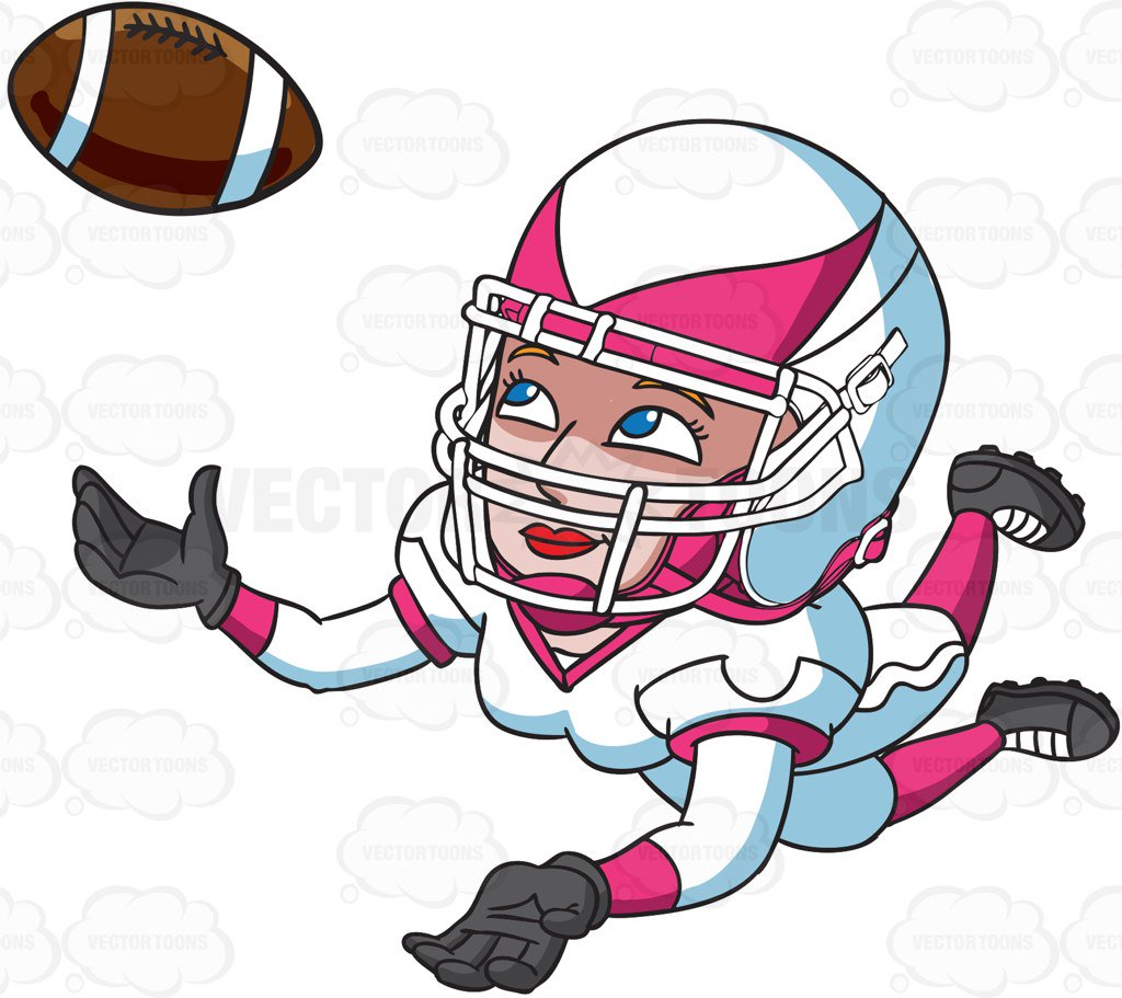 1024x911 A Female Football Player Catching The Ball Cartoon Clipart