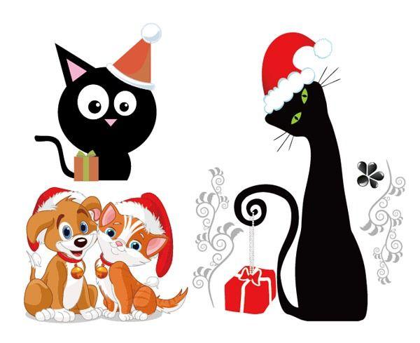 600x489 Lovely Christmas Cat Dog Vector Material Clip Art