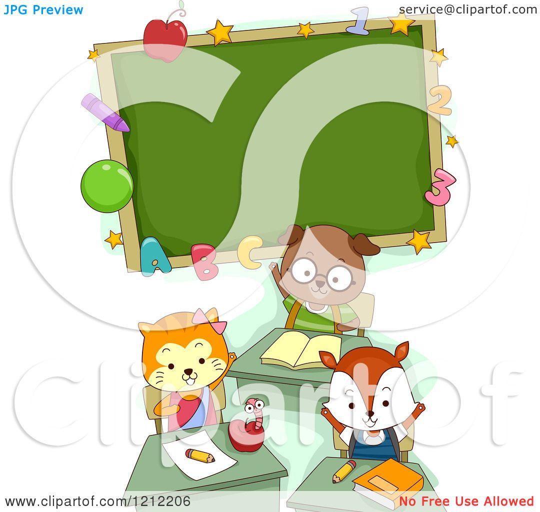 1080x1024 Cartoon Of A Cute Student Cat Dog And Fox Under A Classroom Chalk