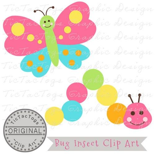 500x500 Bug Clip Art, Caterpillar Clipart, Butterfly Digital, Personal