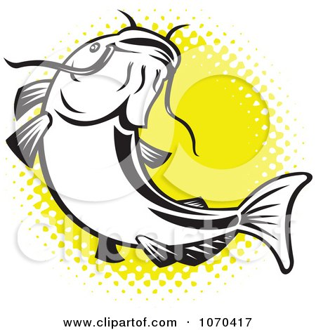 450x470 Clipart Catfish Over Yellow Halftone