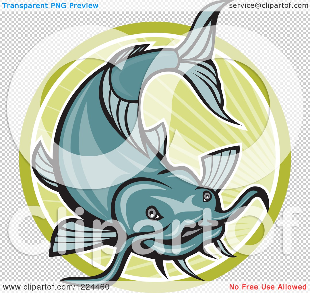 1080x1024 Clipart Of A Leaping Catfish Over A Green Circle Of Rays