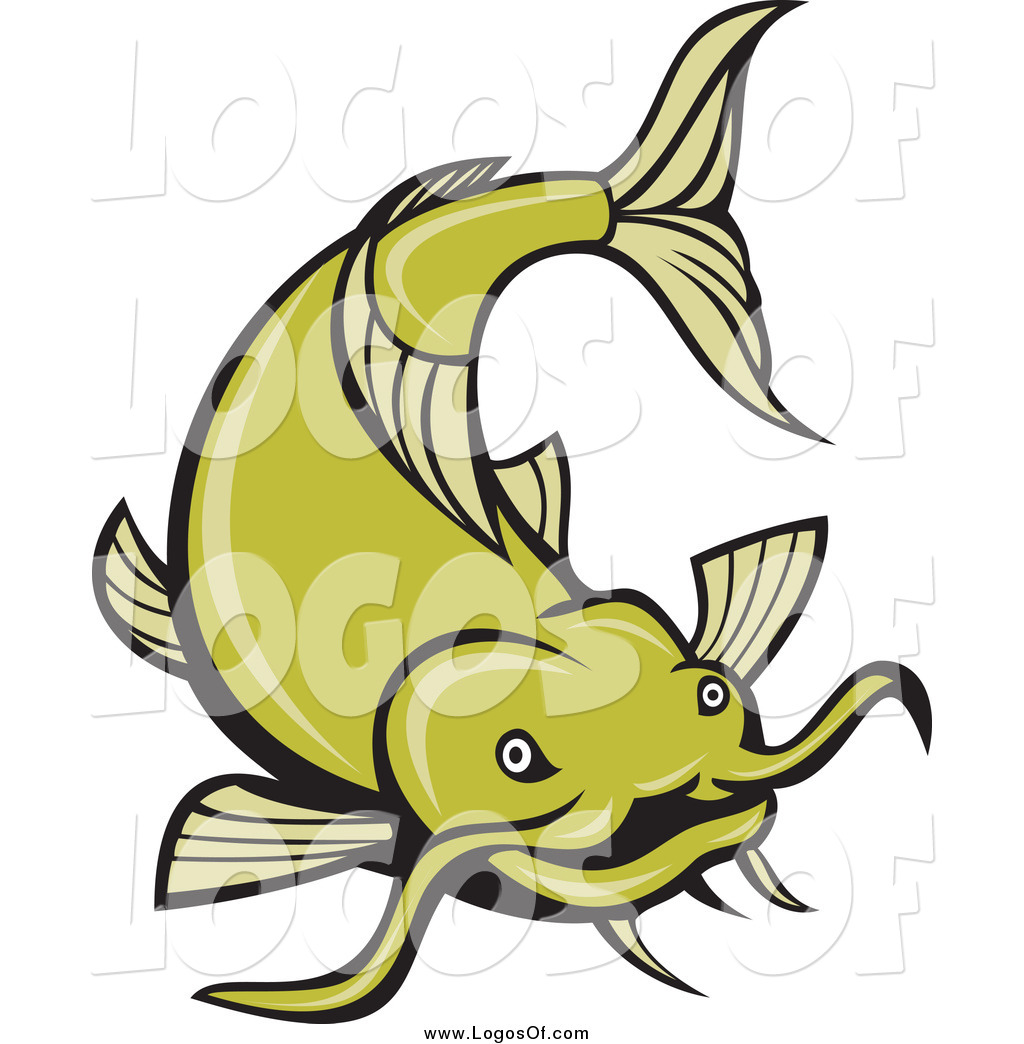 1024x1044 Vector Clipart Of A Green Catfish Swimming Logo By Patrimonio