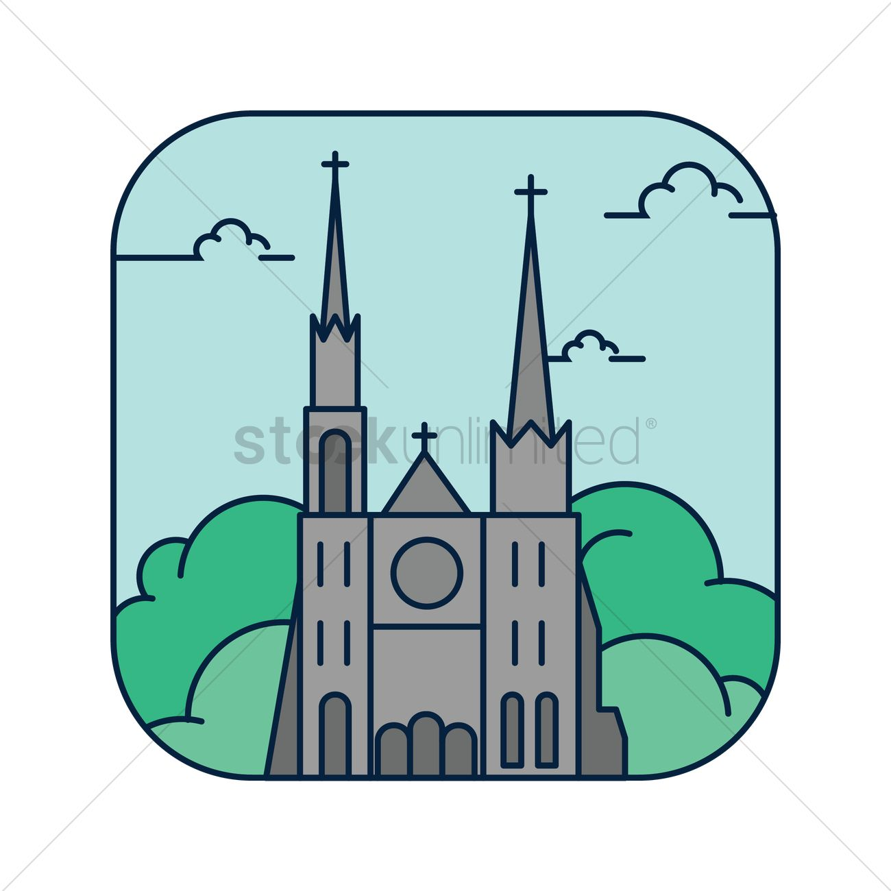 1300x1300 Chartres Cathedral Vector Image