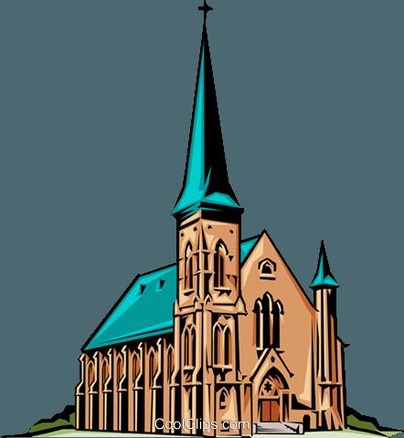 442x480 Church Royalty Free Vector Clip Art Illustration Arch0058