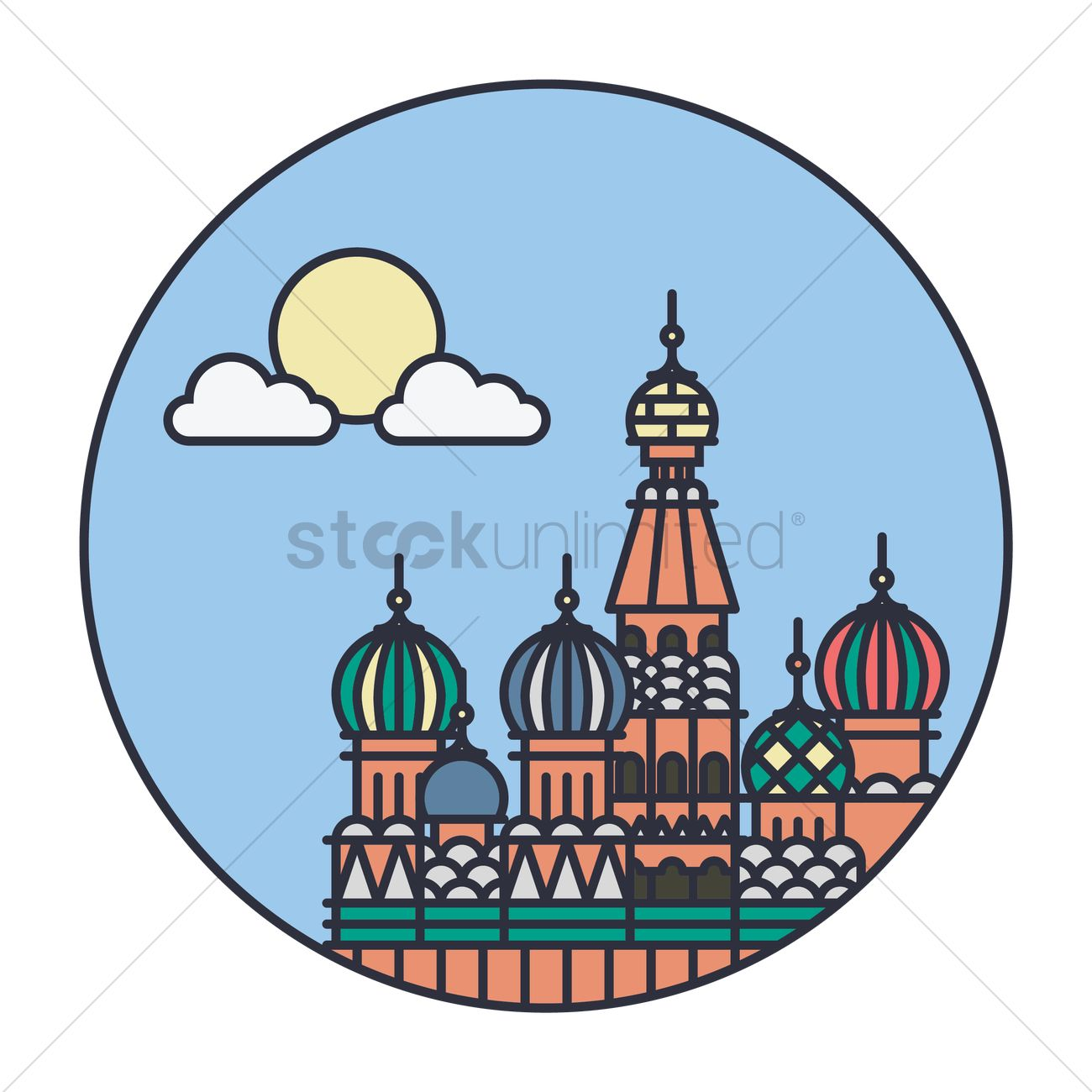 1300x1300 Saint Basil's Cathedral In Moscow Vector Image