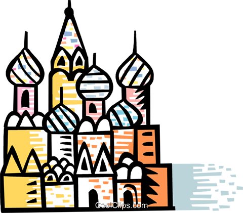 480x421 St. Basil's Cathedral Red Square Moscow Royalty Free Vector Clip