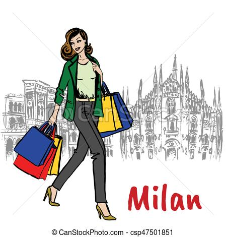 449x470 Woman And Milan Cathedral. Sketch Of Woman With Shopping