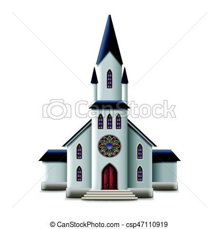 450x470 Catholic Church Isolated On White Vector. Catholic Church