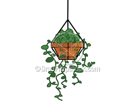 432x324 Clip Art Of A Cartoon Hanging Plant Clipart Hanging Plant