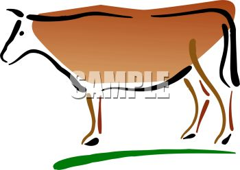 350x248 Picture Of A Cow Standing In Grass In A Vector Clip Art