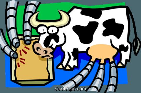 480x316 Cow As Cyclical Milking Machine Royalty Free Vector Clip Art