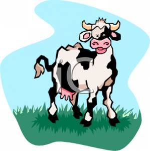 299x300 Clip Art Image A Smiling Dairy Cow