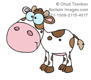 300x262 Clipart Image Of A Smiling Brown And White Calf