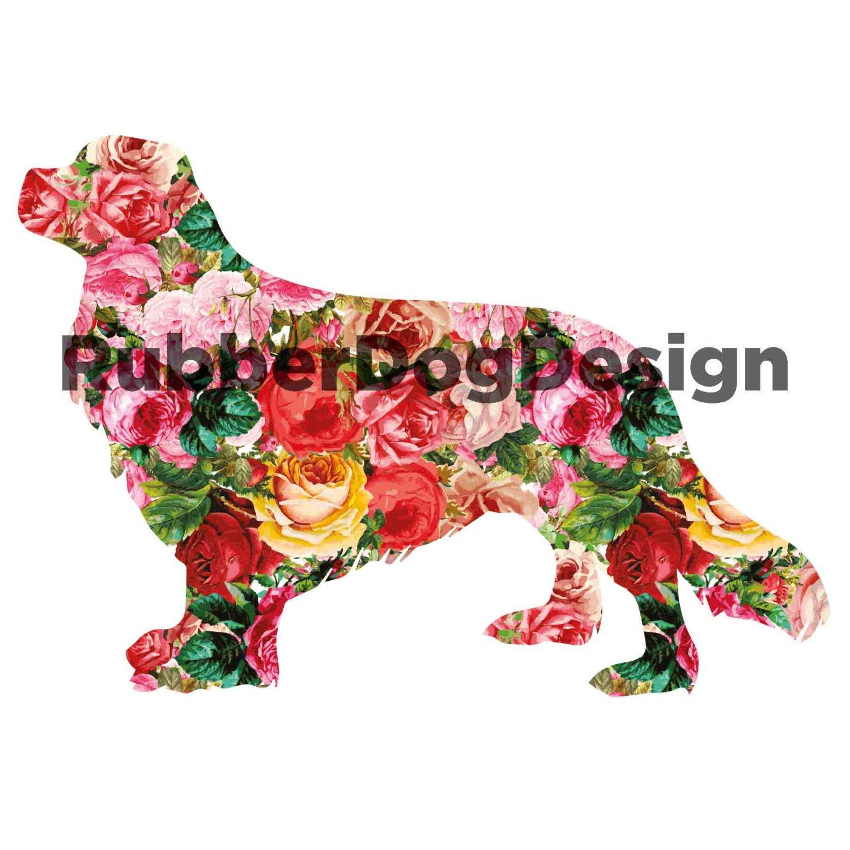 1500x1500 King Charles Cavalier Spaniel Clipart Vintage Flower Design