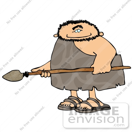450x450 Cave Man Holding A Spear Weapon Clipart
