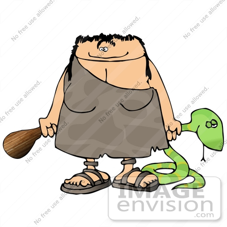 450x450 Cave Woman With A Club And Snake Clipart