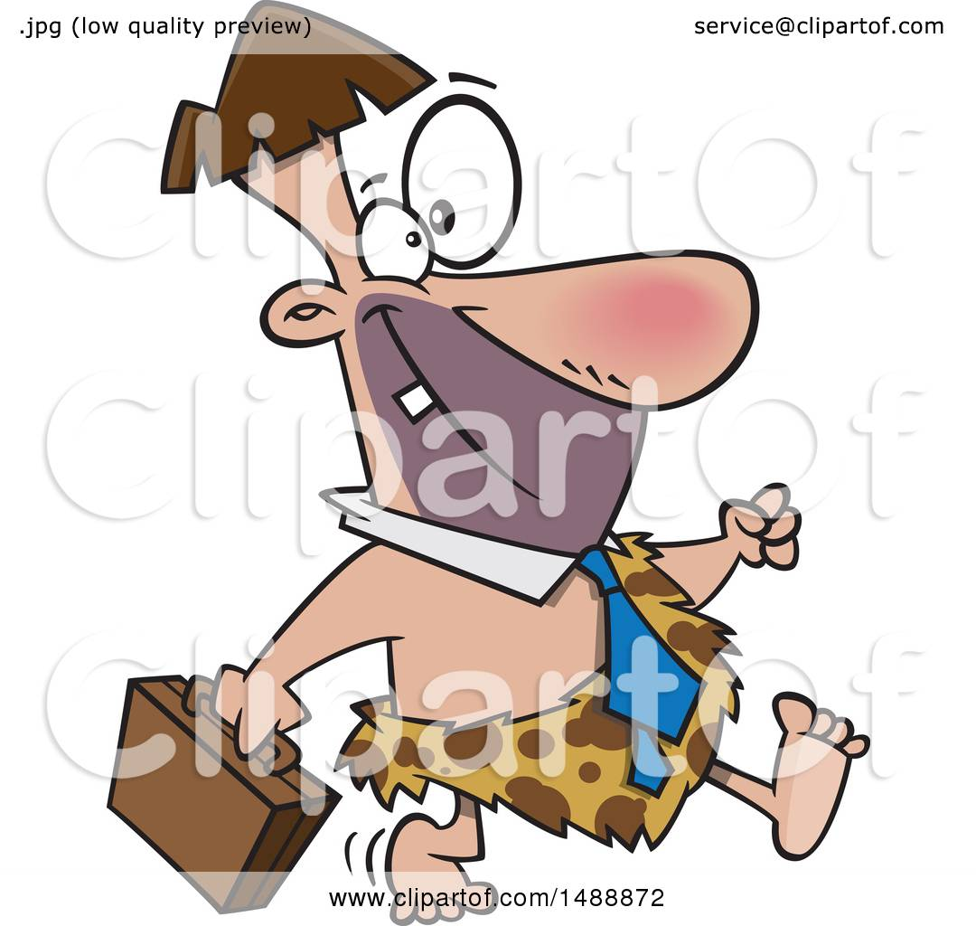 1080x1024 Clipart Of A Cartoon Business Cave Man Walking With A Briefcase