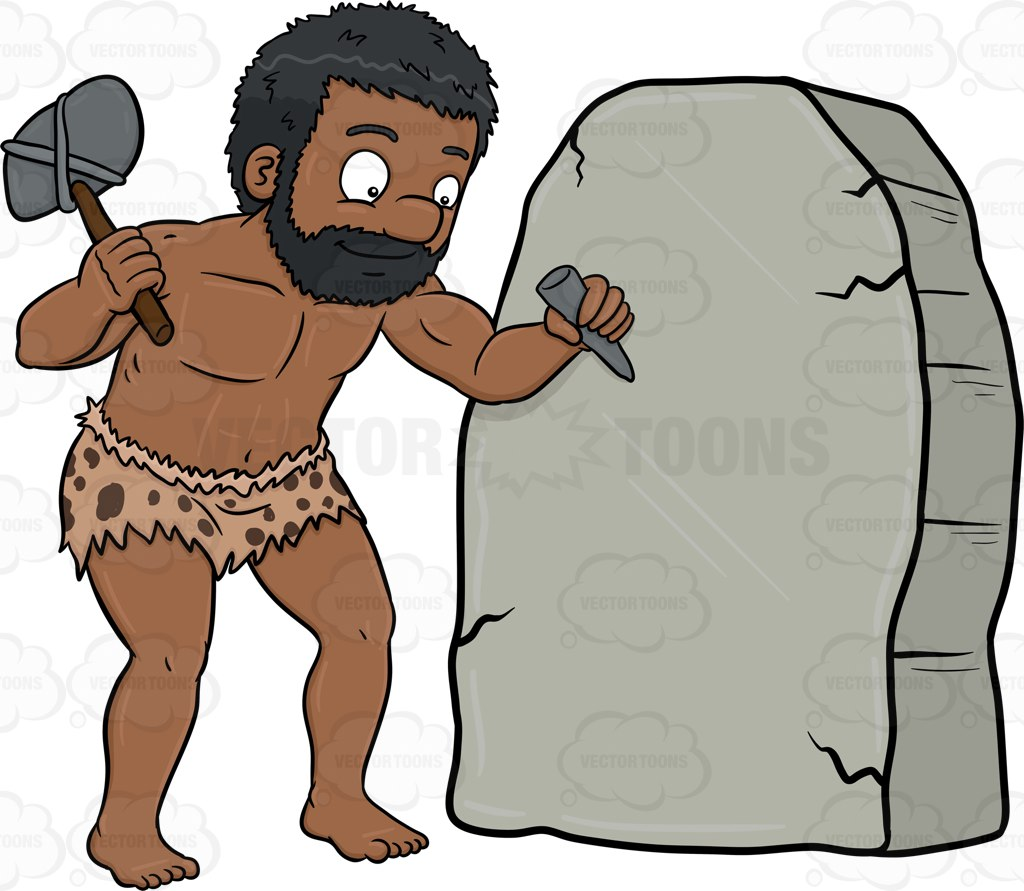1024x891 A Black Caveman Cheerfully Works On A Solid Rock Cartoon Clipart