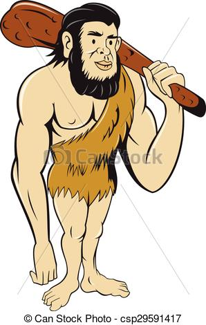 298x470 Caveman Neanderthal Man Holding Club Cartoon. Illustration