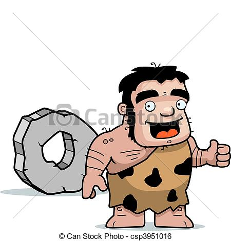 450x470 Caveman Wheel. A Happy Cartoon Caveman With A Wheel. Clip Art