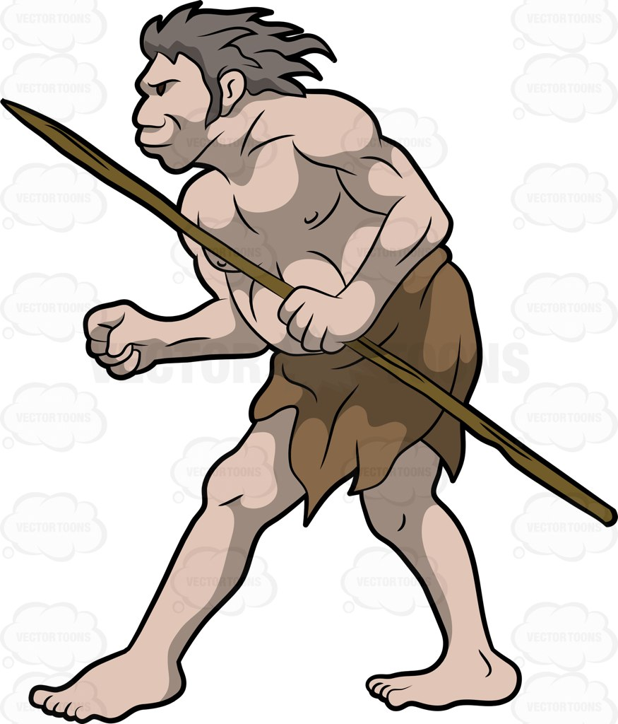 875x1024 A Caveman Slowly Walks Towards His Target Cartoon Clipart Vector
