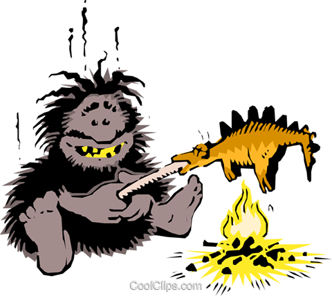 480x428 Caveman Cooking Dinner Royalty Free Vector Clip Art Illustration
