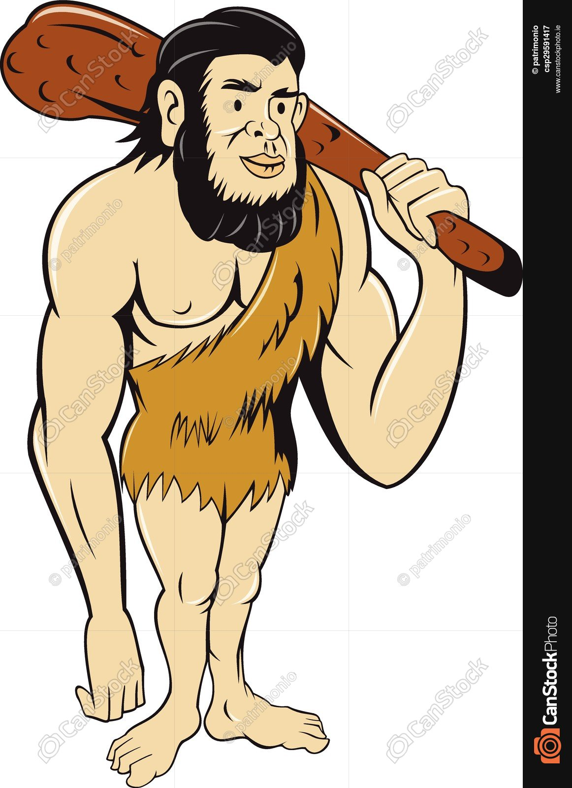 1162x1600 Caveman Neanderthal Man Holding Club Cartoon. Illustration
