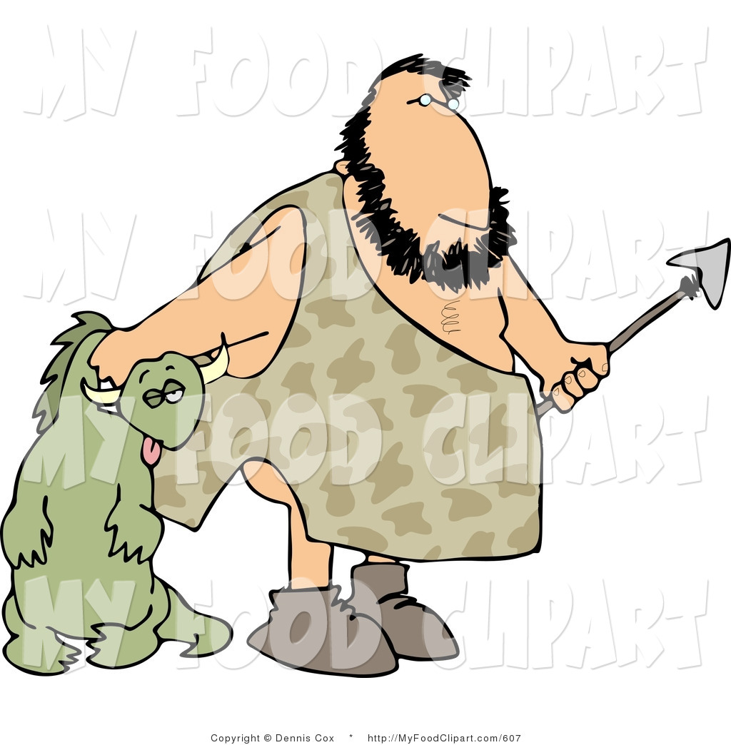 1024x1044 Food Clip Art Of A Caveman Carrying An Unconscious Dinosaur By