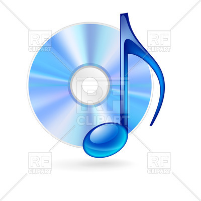 400x400 Cd Disc And Blue Musical Note Royalty Free Vector Clip Art Image