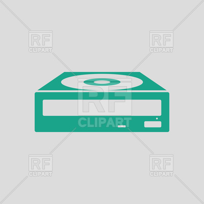 400x400 Cd Rom Drive Icon On Gray Background Royalty Free Vector Clip Art