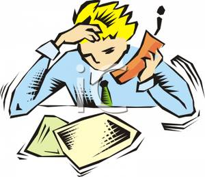 300x259 Clip Art Image A Businessman Talking On A Cell Phone And Rubbing