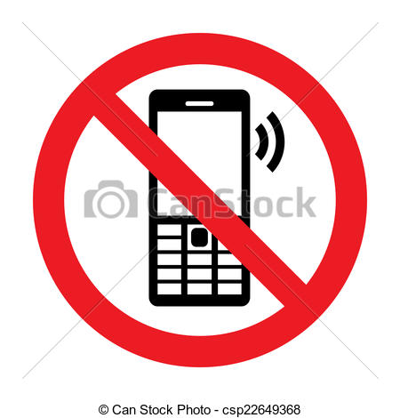 450x470 No Cell Phone Vector Sign Stock Illustration