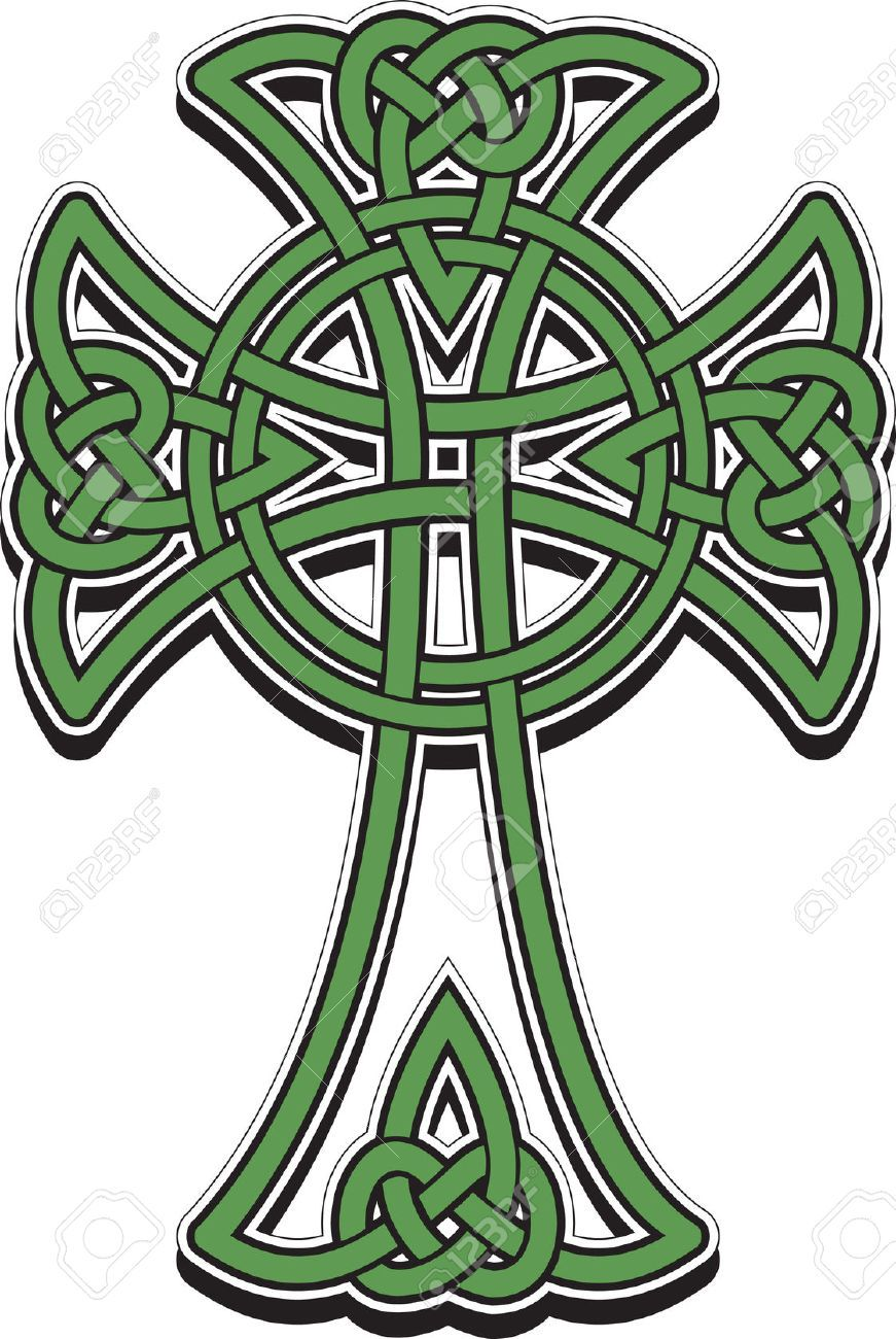 871x1300 The Celtic Cross From The Intertwined Lines Royalty Free Cliparts