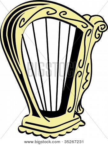 348x470 Celtic Harp Clipart