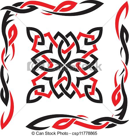 445x470 Celtic Vector Black And Red Ornament For Design Clip Art Vector
